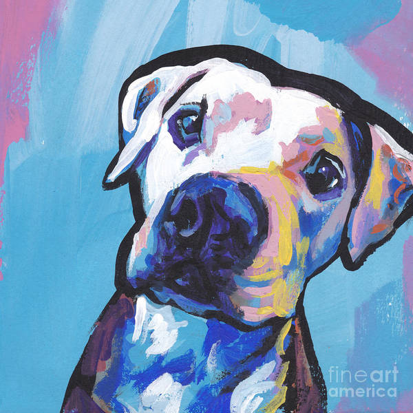 Pit Bull Art Print featuring the painting My Peach Pit by Lea S