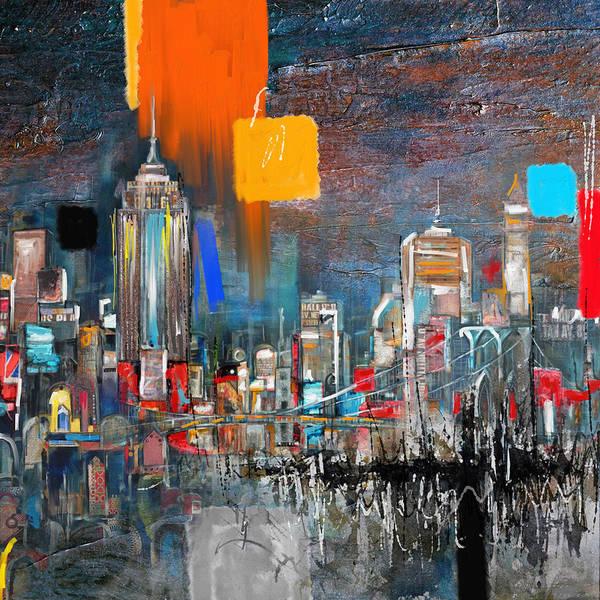 New York Skyline Art Print featuring the painting New York Skyline 198 1 by Mawra Tahreem