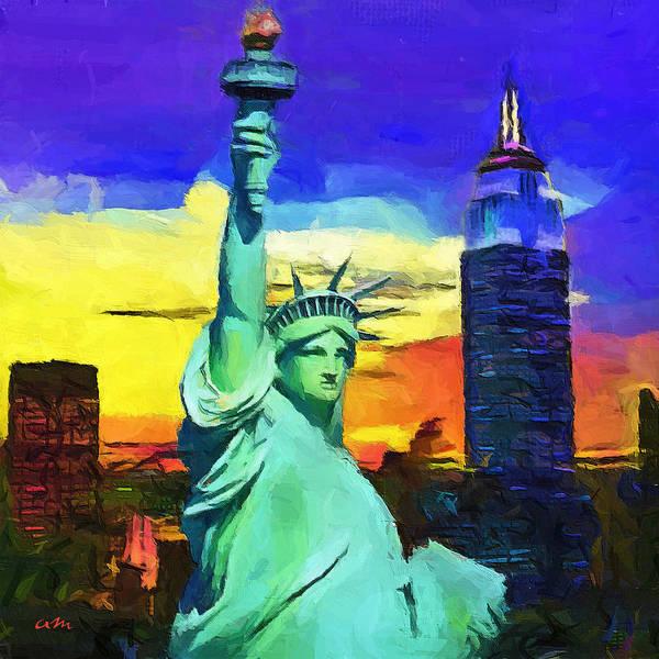 America Art Print featuring the digital art New York Statue Of Liberty by Marino Antoine