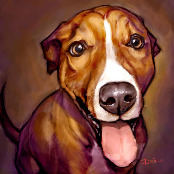 Dogs Art Print featuring the painting Number One Fan by Sean ODaniels