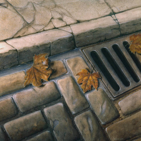 Street Art Print featuring the painting October Leaves by Laine Garrido