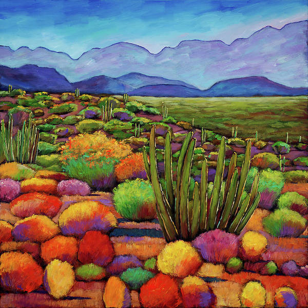 Desert Landscape Art Print featuring the painting Organ Pipe by Johnathan Harris