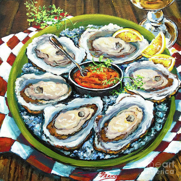 Oysters Art Print featuring the painting Oysters On The Half Shell by Dianne Parks