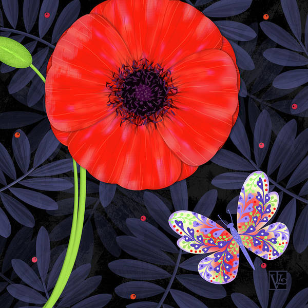 Letter Art Print featuring the mixed media P Is For Pretty Poppy by Valerie Drake Lesiak