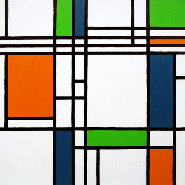 Squares Art Print featuring the painting Parallel Lines Composition With Blue Green And Orange In Opposition by Oliver Johnston