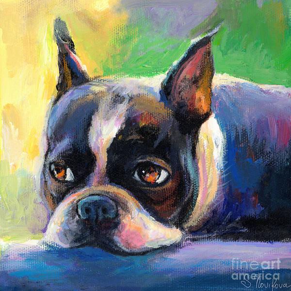 Boston Terrier Dog Art Print featuring the painting Pensive Boston Terrier Dog Painting by Svetlana Novikova