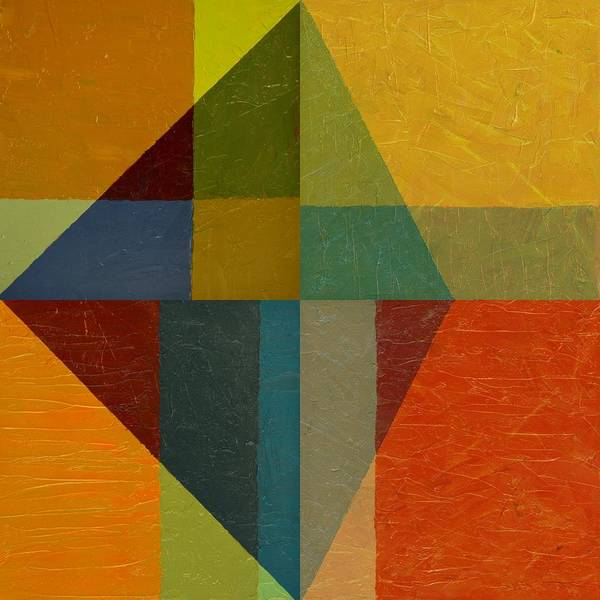 Abstract Print featuring the painting Perspective In Color Collage by Michelle Calkins