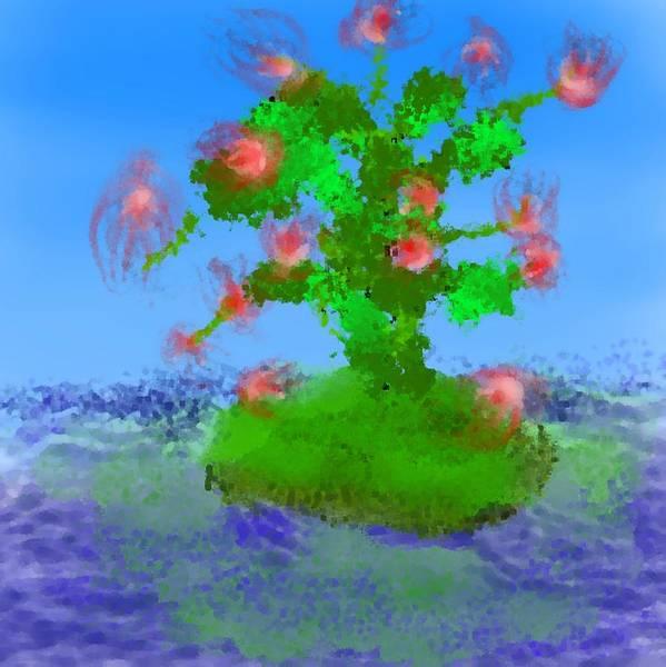 Landscape.sea.birds.island.sky.tree .rest Stop.wave.wind. Art Print featuring the digital art Pink Birds Ongreen Island by Dr Loifer Vladimir