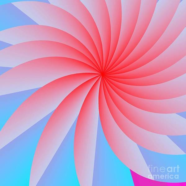 Abstract Art Print featuring the digital art Pink Passion Flower by Michael Skinner