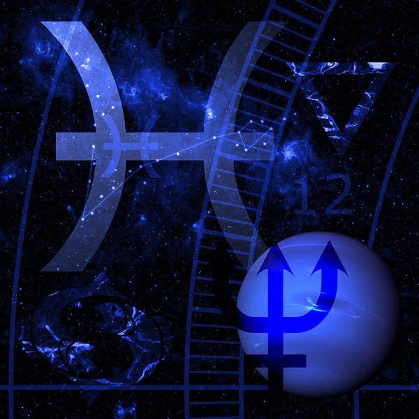 Horoscope Art Print featuring the digital art Pisces by JP Rhea