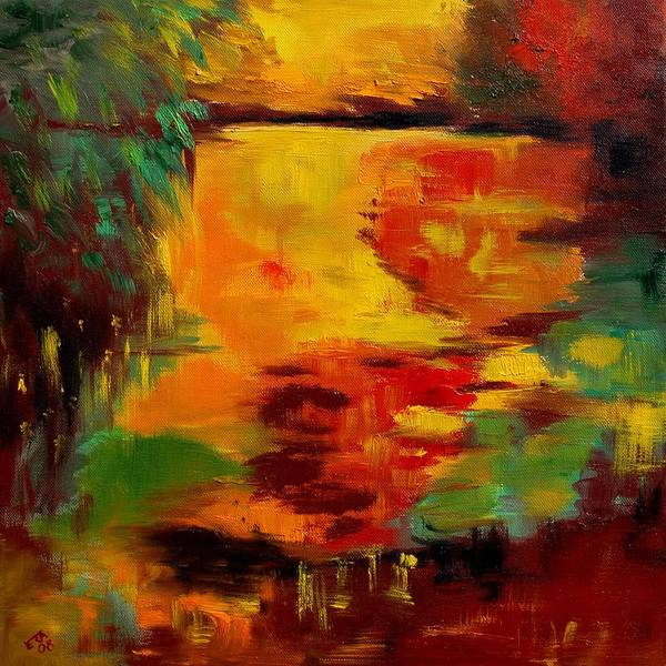 Pond Art Print featuring the painting pOND 12 by Veronique Radelet