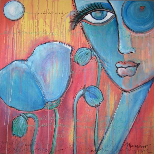 Pop Art Art Print featuring the painting Poppies 7 Luna Let Me Go by Laurie Maves ART