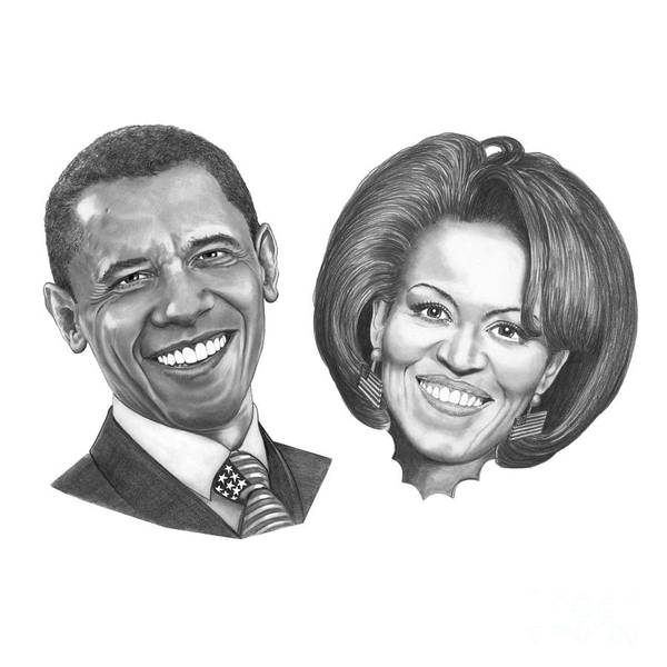 Drawings Art Print featuring the drawing President And First Lady Obama by Murphy Elliott