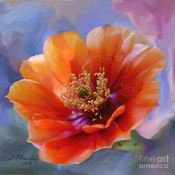 Prickly Pear Bloom Art Print featuring the painting Prickly Pear Bloom by Judy Filarecki