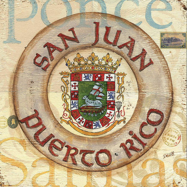 San Juan Art Print featuring the painting Puerto Rico Coat Of Arms by Debbie DeWitt