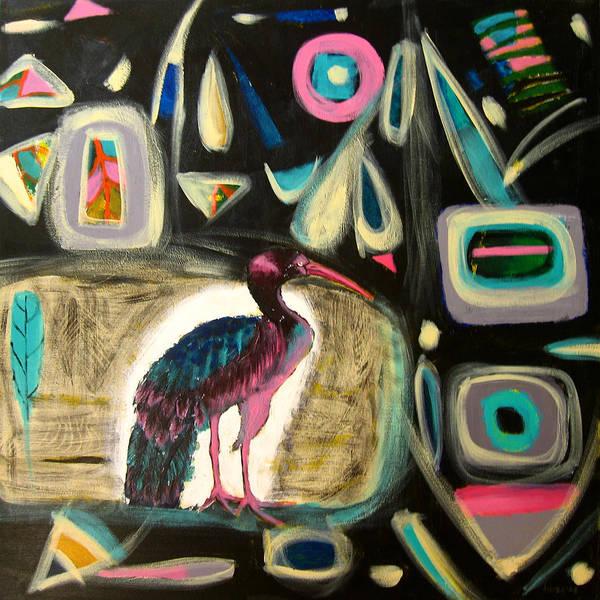 Ibis Art Print featuring the painting Puna Ibis by Aliza Souleyeva-Alexander