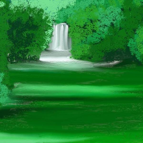 Waterfall Art Print featuring the painting Punch Bowl Falls by Shelton coker jr