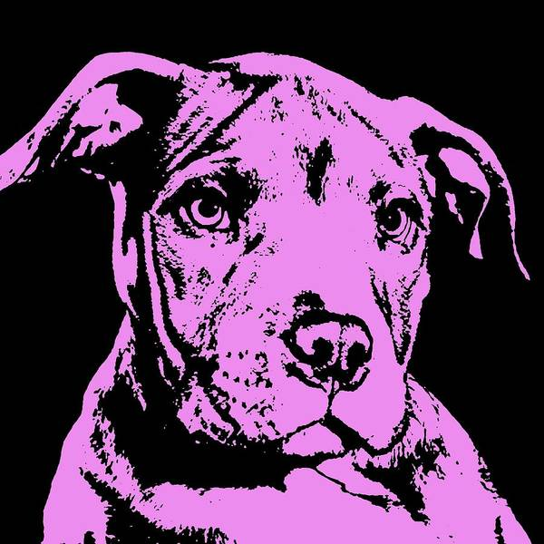 Pit Bull Art Print featuring the painting Purple Little Pittie by Dean Russo