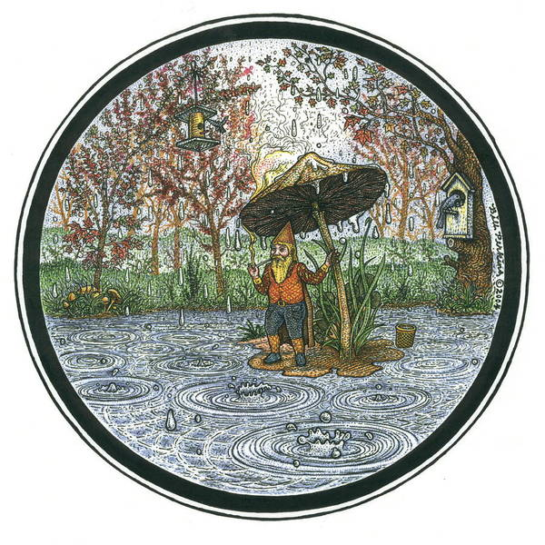 Rain Art Print featuring the drawing Rain Gnome Rain Circle by Bill Perkins