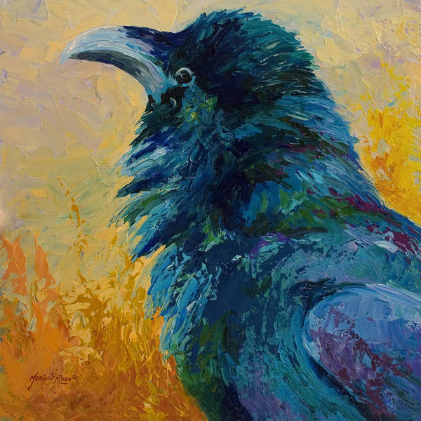 Crows Art Print featuring the painting Raven Study by Marion Rose