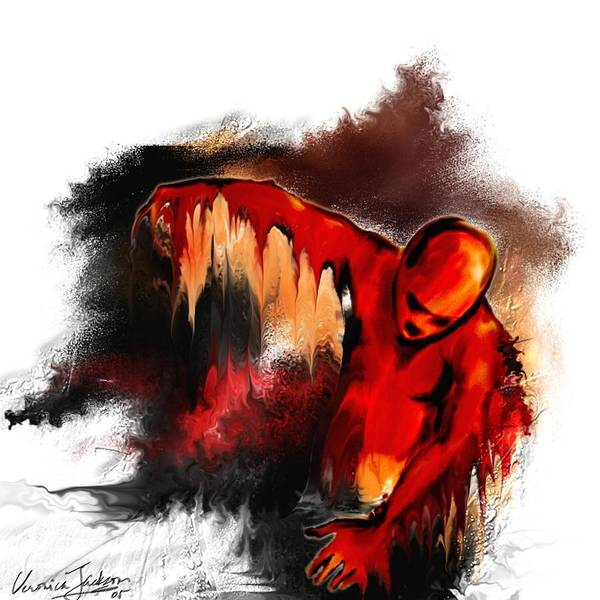 Red Man Passion Sureall Fire Art Print featuring the digital art Red Man by Veronica Jackson