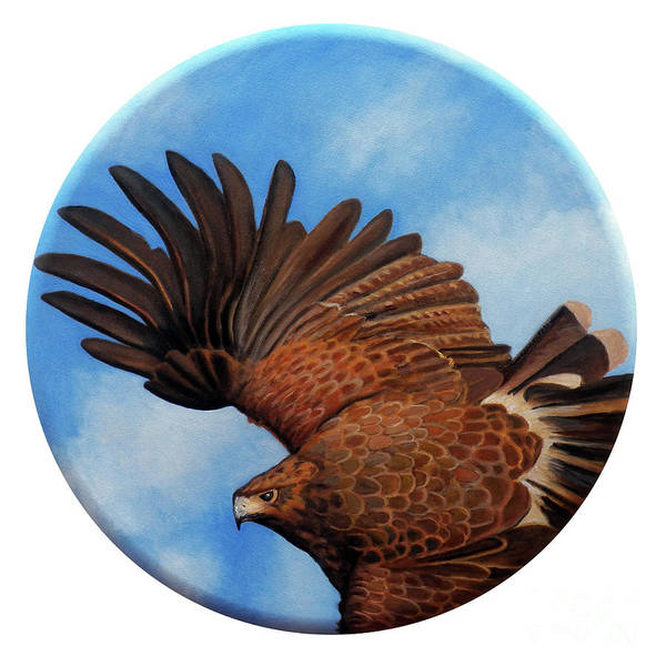 Hawk Art Print featuring the painting Riding The Wind by Brian Commerford