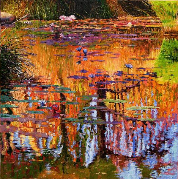 Flower Garden Art Print featuring the painting Ripples On Fall Pond by John Lautermilch