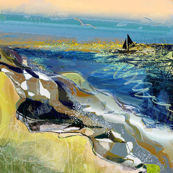 Sea Art Print featuring the painting Rising Wind by Anne Weirich