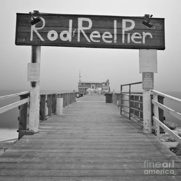 Rod And Reel Pier Art Print featuring the photograph Rod And Reel Pier In Fog In Infrared 53 by Rolf Bertram
