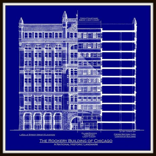 Rookery building chicago blueprint art print by gene nelson architectural drawing art print featuring the drawing rookery building chicago blueprint by gene nelson malvernweather Image collections
