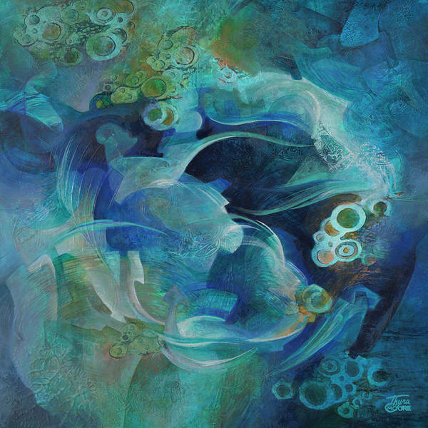 Abstract Art Print featuring the painting Round About by Thyra Moore
