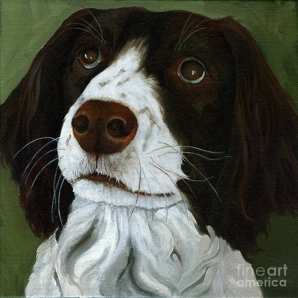 Dog Portrait Art Print featuring the painting Rueger - Dog Portrait Oil Painting by Linda Apple