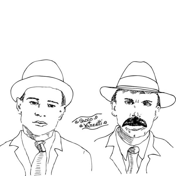 Drawing Art Print featuring the drawing Sacco And Vanzetti by Karl Addison