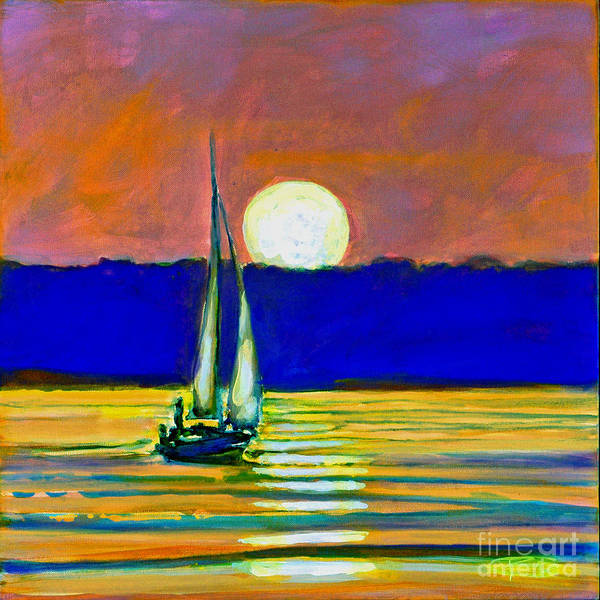 Sailboat Painting Art Print featuring the painting Sailboat With Moonlight by Kip Decker