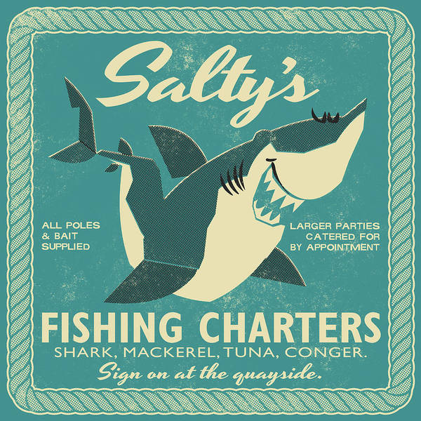 Fish Art Print featuring the drawing Salty's Fishing Charters by Daviz Industries