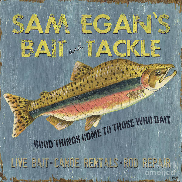 Sam Art Print featuring the painting Sam Egan's Bait And Tackle by Debbie DeWitt