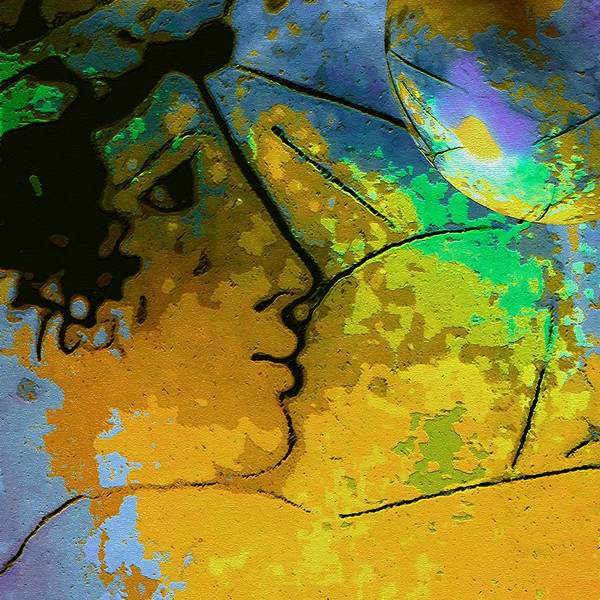 Compassion Classical Figure Globe Earth Yellow Blue Green Ecology Art Print featuring the digital art Save The World by Susan Epps Oliver