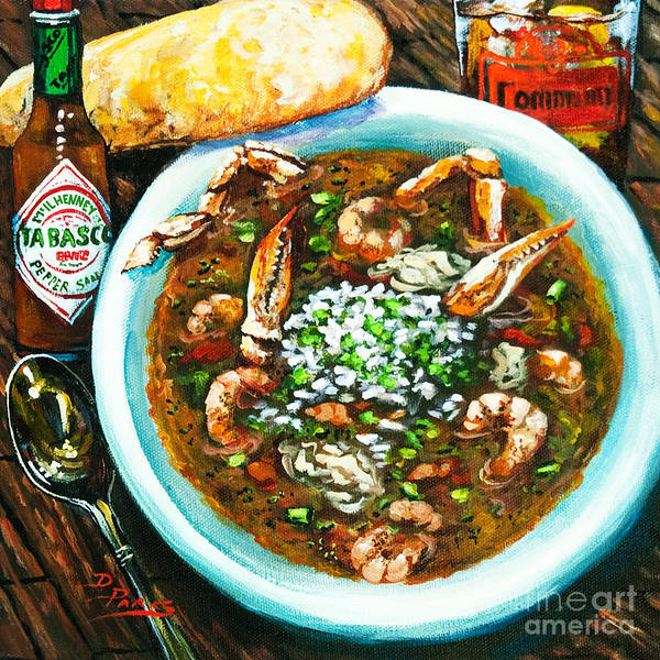 Seafood Art Art Print featuring the painting Seafood Gumbo by Dianne Parks