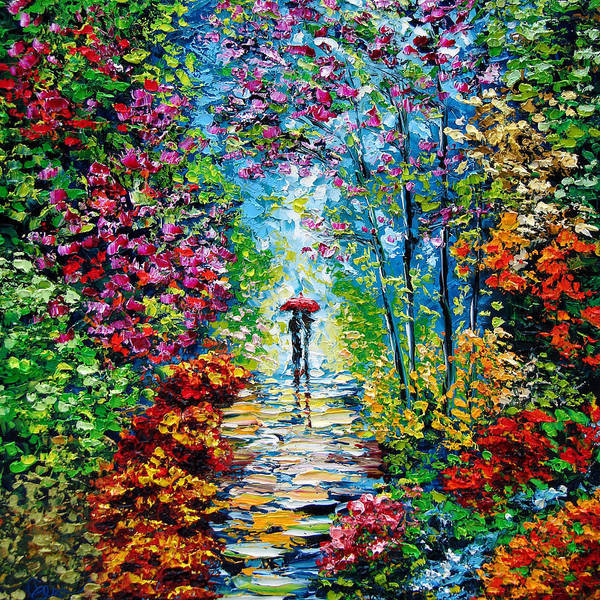 Oil Paining Print featuring the painting Secret Garden Oil Painting - B. Sasik by Beata Sasik