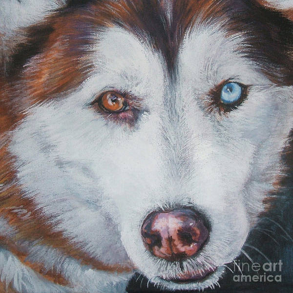 Siberian Husky Art Print featuring the painting Siberian Husky Red by Lee Ann Shepard
