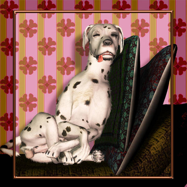 Dalmatian Art Print featuring the digital art Sleeping IIi by Nik Helbig