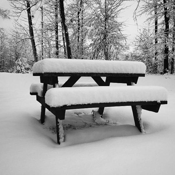 Snow Snowman Picnic Table Sogso Art Print By D Gillwood - Picnic table print
