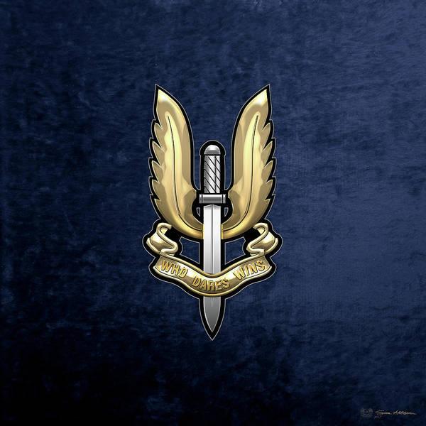 Special Air Service - S A S Badge Over Blue Velvet Art Print