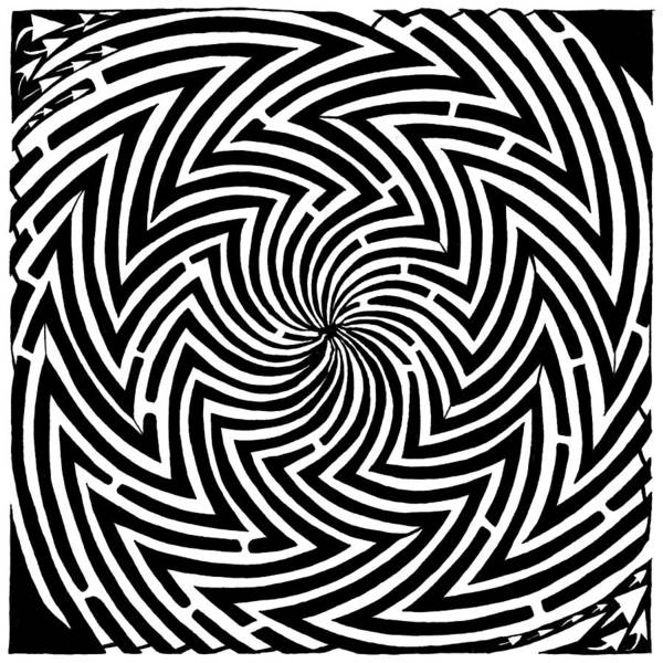 Spinning Art Print featuring the drawing Spinning Optical Illusion Maze by Yonatan Frimer Maze Artist