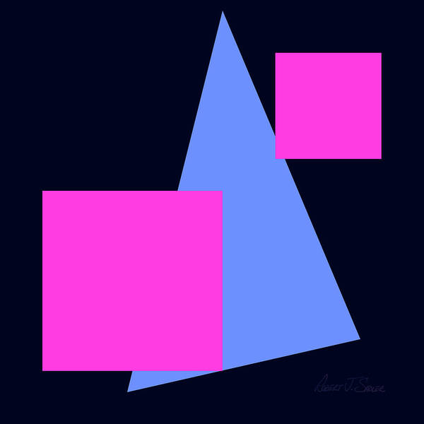 Art Print featuring the digital art Squares And Triangle by Robert J Sadler