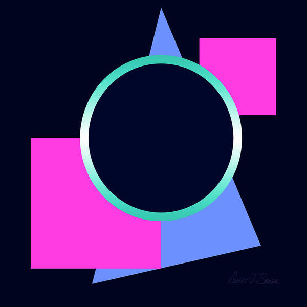 Art Print featuring the digital art Squares And Triangle Subsumed By Circle by Robert J Sadler