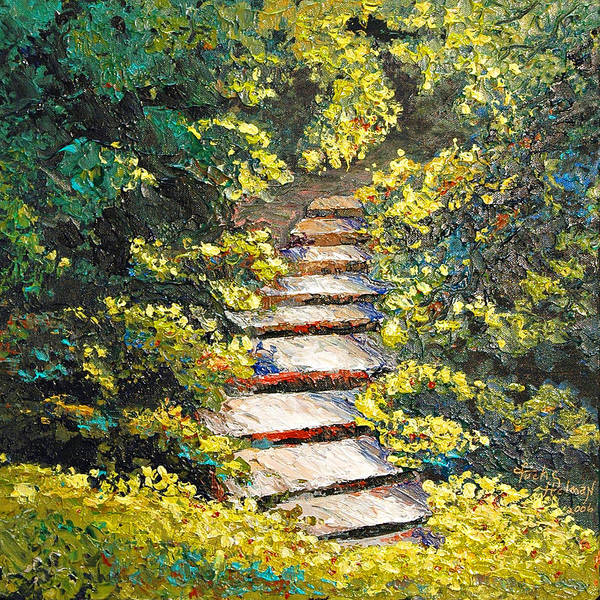 Landscape Art Print featuring the painting Stairway To Heaven by Cathy Fuchs-Holman