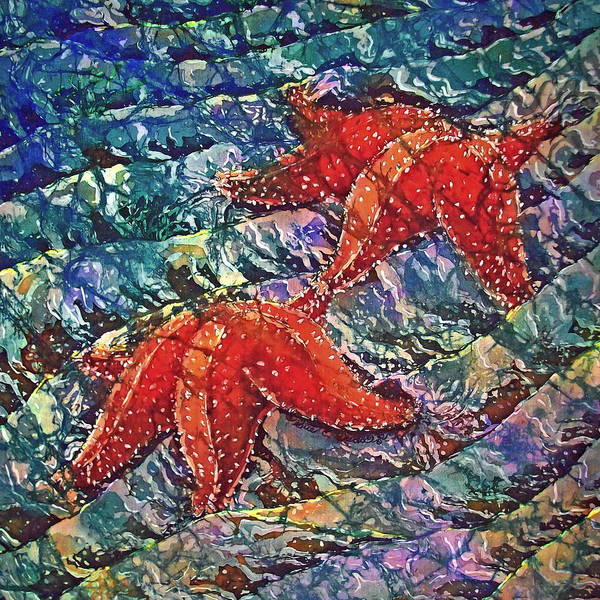 Stars Art Print featuring the painting Starfish 2 by Sue Duda