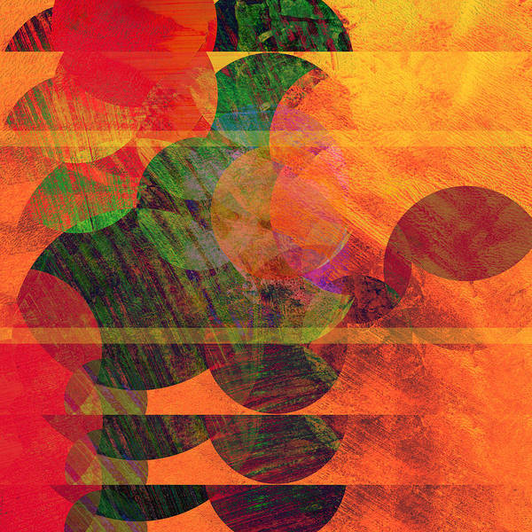 Absract Art Print featuring the digital art Stripes And Circles by Ann Powell