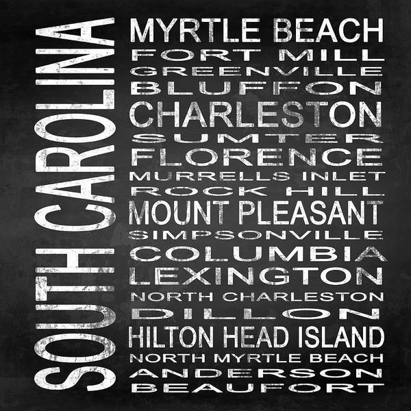 Subway Sign Art Print featuring the digital art Subway South Carolina State Square by Melissa Smith
